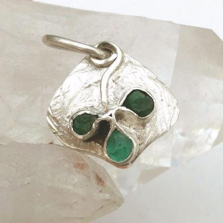 Shamrock charm green gemstones: emerald, tsavorite, 925 silver