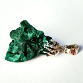 Fibrous malachite raw crystal necklace sterling silver