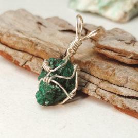 Small fibrous malachite chunk wire wrapped
