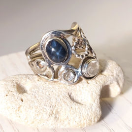 Genuine star sapphire ring sterling silver, herkimer diamond quarts, CZ, 2 14 k golden balls