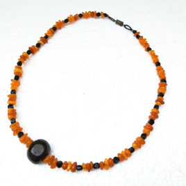 Amber jet necklace, beaded necklace genuine jet Baltic amber 44 cm
