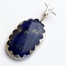 Navy blue lapis lazuli necklace fine silver