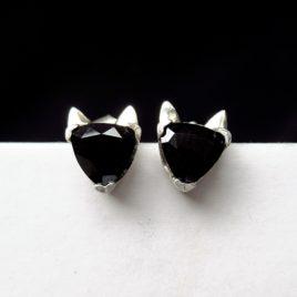 Black cat head studs, earrings sterling silver