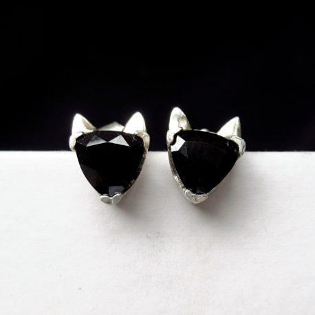 Black cat head studs, earrings sterling silver