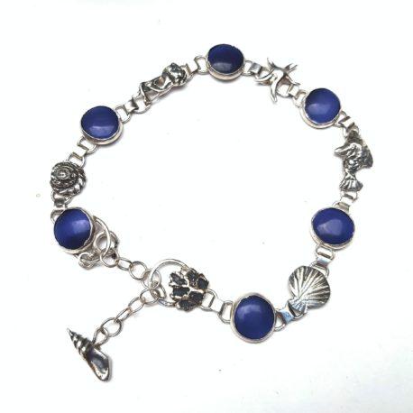 Sea charm bracelet sterling silver, blue cats eye