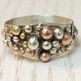 Multi metal ring bubbles, silver, copper, brass